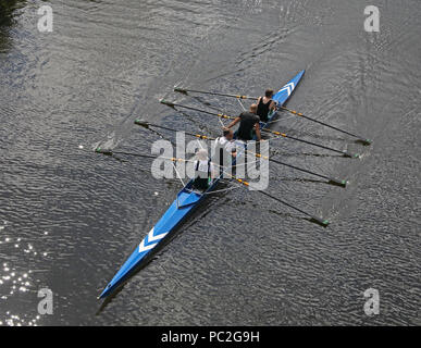 Trafford Rowing Club mens coxless quads, at Warrington Rowing Club 2018 Summer regatta, Howley lane, Mersey River, Cheshire, North West England, UK - Stock Photo