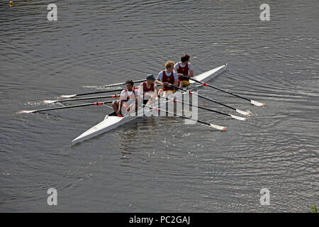 Liverpool Victoria Coxless Mens Quad,at Warrington Rowing Club 2018 Summer regatta, Howley lane, Mersey River, Cheshire, North West England, UK - Stock Photo
