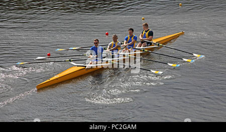 WRC Mens Coxless Quad, at Warrington Rowing Club 2018 Summer regatta, Howley lane, Mersey River, Cheshire, North West England, UK - Stock Photo
