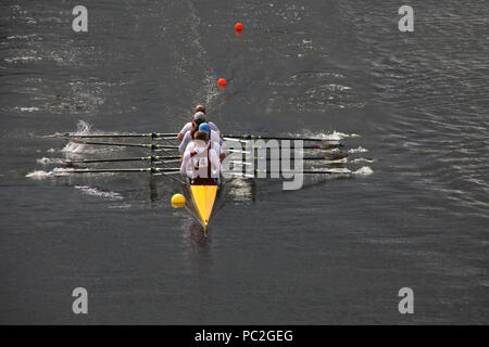 Tees Rowing Club, coxless quad, at Warrington Rowing Club 2018 Summer regatta, Howley lane, Mersey River, Cheshire, North West England, UK - Stock Photo