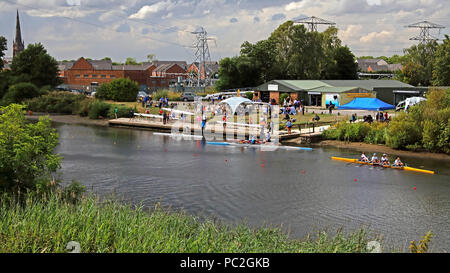 View from Kingsway Bridge, of Warrington Rowing Club 2018 Summer regatta, Howley lane, Mersey River, Cheshire, North West England, UK - Stock Photo