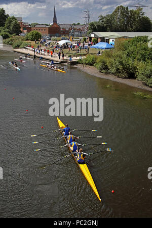 Mens quad team at Warrington Rowing Club 2018 Summer regatta, Howley lane, Mersey River, Cheshire, North West England, UK - Stock Photo