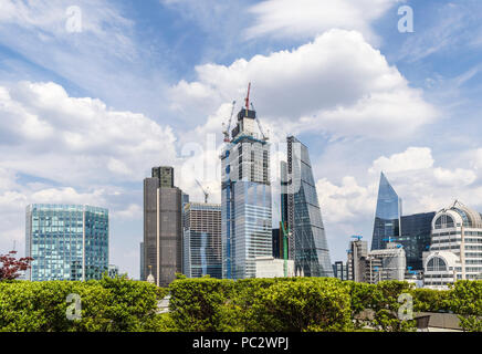 Core of 22 Bishopsgate under construction in the City of London EC2 financial district with Tower 42, The Cheesegrater and other landmark buildings - Stock Photo