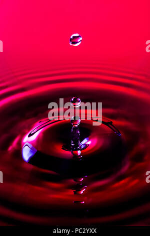 Close-up of a water droplets impacting  water surface, resulting in three water balls and column hanging in the air with  ripples against a red backgr - Stock Photo
