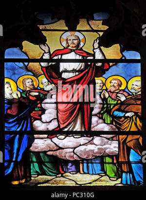 Transfiguration of Jesus, stained glass window in Saint Severin church in Paris, France - Stock Photo