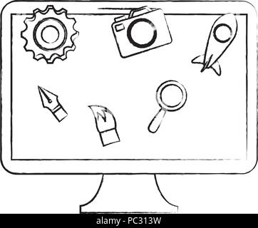 computer with creative related icons over white background, vector illustration - Stock Photo