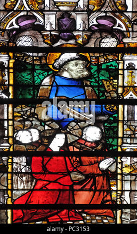 Saint Peter, stained glass window in Saint Severin church in Paris, France - Stock Photo