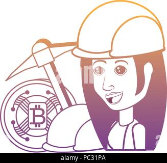cryptocurrency concept design with bitcoin coin and pickaxe with cartoon woman over white background, vector illustration - Stock Photo