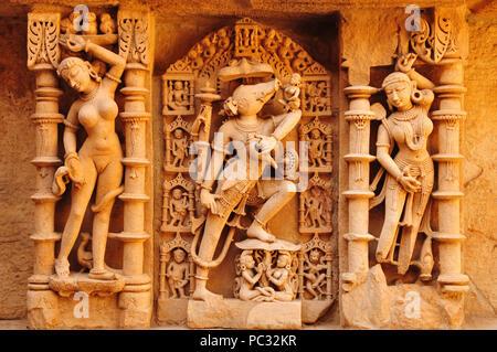 Sandstone tempel and Waterstorage Step Well of Rani ki Vav in Patan, Gujarat, India - Stock Photo
