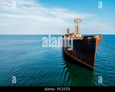 Aerial Drone View Of Old Shipwreck Ghost Ship - Stock Photo