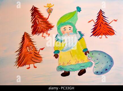 Santa and Christmas trees - Stock Photo