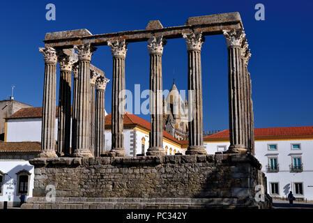 Ruin of Roman Temple in Alentejo town Evora - Stock Photo