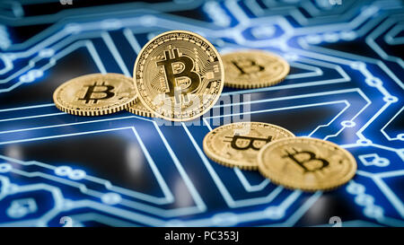 3d rendering of a some bitcoin coins on a dark electronic background - Stock Photo