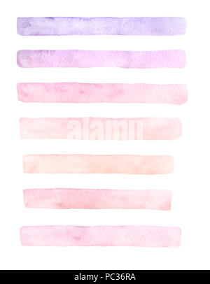Hand drawn watercolor set of brushstrokes of yellow, pink and purple colors isolated on the white background.  Pastel brush textures for your design. - Stock Photo