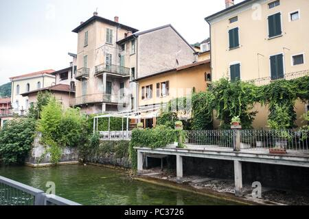 Porto Ceresio is a comune (municipality) on Lake Lugano in the Province of Varese in the Italian region Lombardy, located about 50 kilometres (31 mile - Stock Photo