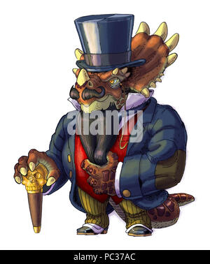 Hand drawn cartoon clip art illustration of an anthropomorphic steampunk Styracosaurus dinosaur wearing Victorian clothes with a beard, top hat, and a - Stock Photo