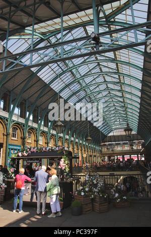 Inside Covent Garden Market London September 2017 - Stock Photo