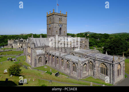 St Davids Cathedral in St Davids, Pembrokeshire, West Wales - Stock Photo