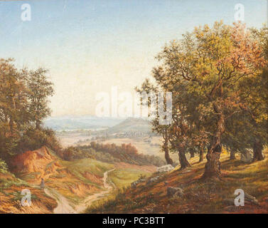 Andreas Achenbach - Blick aus dem Wald ins Tal. - Stock Photo