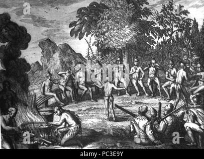 513 Rc11024 Timucua Indians at a feast drawing possibly by Le Moyne de Morgues - Stock Photo