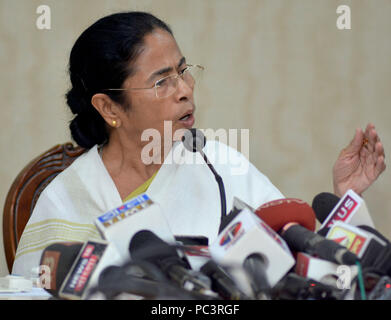Howrah, India. 30th July, 2018. West Bengal Chief Minister Mamata Banerjee address a press conference over the final National Register of Citizen or NCR draft of Assam released today. Credit: Saikat Paul/Pacific Press/Alamy Live News - Stock Photo