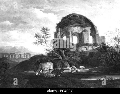 Adrian Ludwig Richter 1803-1884 - Minerva Medica v Rime. - Stock Photo