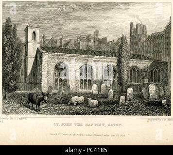 544 Savoy Chapel Thomas Hosmer Shepherd 1830 - Stock Photo