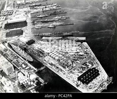 Aerial view of Boston Navy Yard, circa July 1943. - Stock Photo
