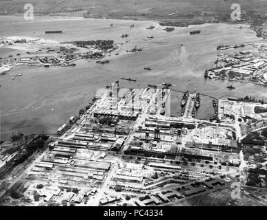 Aerial view of Pearl Harbor from the Navy Yard on 28 July 1942. - Stock Photo