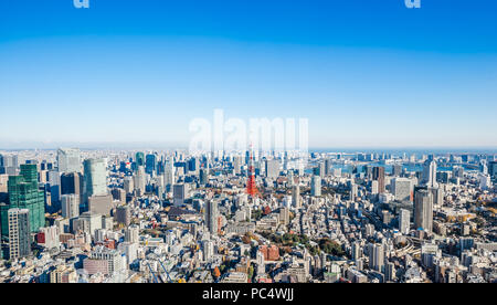 Asia Business concept for real estate and corporate construction - panoramic modern city skyline bird eye aerial view of tokyo tower and odaiba under  - Stock Photo