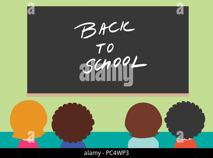 Four children in school class with black board with the inscription Back to school on green wall - vector - Stock Photo