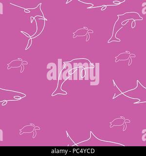 Sea animal pattern seamless. Shark, dolphin, turtle. Vector illustration. Pink background. - Stock Photo