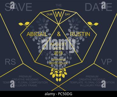 Premium wedding Invitation. Luxury invite card design. Trendy golden polygonal frame and floral elements.  Vector template - Stock Photo