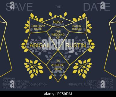 Creative Wedding Invitation. Trendy Save the Date card design. Golden geometric frame and floral composition. Vector template - Stock Photo