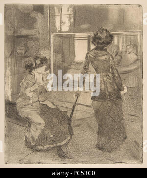 25 Edgar Degas, Mary Cassatt at the Louvre - The Etruscan Gallery, 1879–80 - Stock Photo