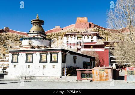 Pelkor Chode or Palcho monastery and Gyantse Kumbum, Gyantse, Tibet - Stock Photo