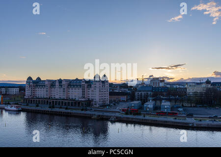 Panoramic view of the city of Oslo at sunset seen from the Opera House. Norway - Stock Photo