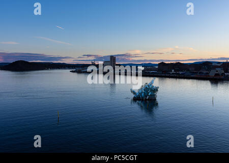 Exterior night view of the city and the glass structure art in the middle of the bay, located in Oslo, Norway - Stock Photo