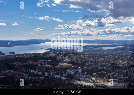 Spectacular panoramic view of Oslo seen from Holmenkollen, Norway. - Stock Photo