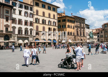 People sightseeing in the  Piazzale Michelangelo in Florence, Tuscany, Italy - Stock Photo