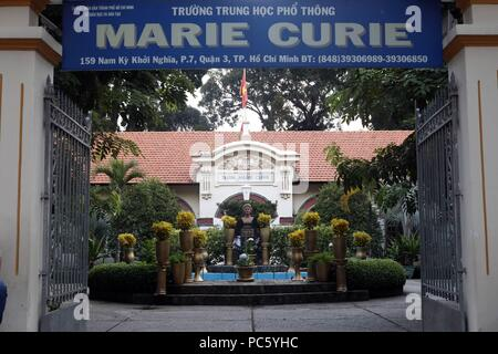 Marie Curie school.  French colonial architecture.  Ho Chi Minh City. Vietnam. | usage worldwide - Stock Photo