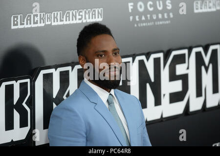 John David Washington attends New York Premiere Of 'BlacKkKlansman' at Brooklyn Academy of Music on July 30, 2018 in New York City. - Stock Photo