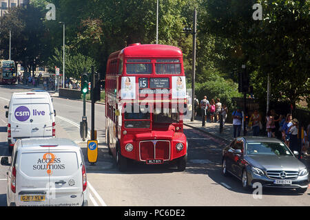 London Buses Routemaster Heritage Route 15, Central London, UK, 01 August 2018, London Buses Routemaster Heritage Route 15 runs between Trafalgar Square and Tower Hill using 1960's AEC Routemasters. It is the last and only regular London bus route using the original Routemaster bus. Credit: Rich Gold/Alamy Live News - Stock Photo