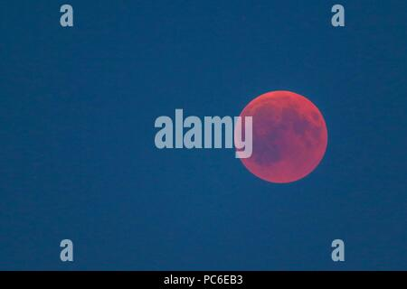 firo, Astronomy 1, 27.07.2018 celestial body, moon, bloodmoon, red, reddish moon, lunar eclipse, | usage worldwide - Stock Photo