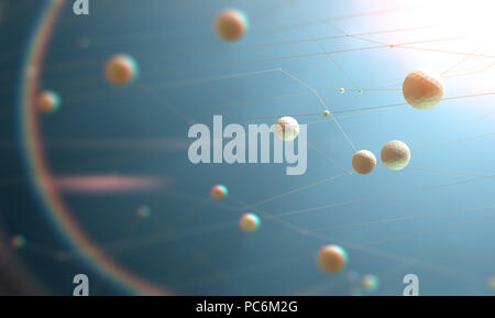 Abstract 3d illustration of science innovation and modern technology.Science and technology background.Mesh and net design - Stock Photo