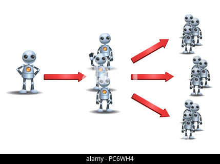 illustration of a little robots multi level marketing on isolated white background - Stock Photo