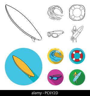 Oncoming wave, life ring, goggles, girl surfing. Surfing set collection icons in outline,flat style vector symbol stock illustration . - Stock Photo