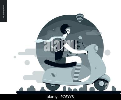Girl on a scooter - flat black and white vector concept illustration of girl wearing helmet riding scooter, french bulldog on lap wearing small helmet - Stock Photo