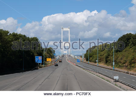 M48 Severn Bridge, from the Toll Plaza on the English Side. - Stock Photo