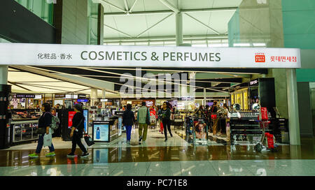 Jeju, South Korea - Sep 21, 2016. A Duty-Free shop at Departure Terminal of Jeju International Airport (CJU). - Stock Photo